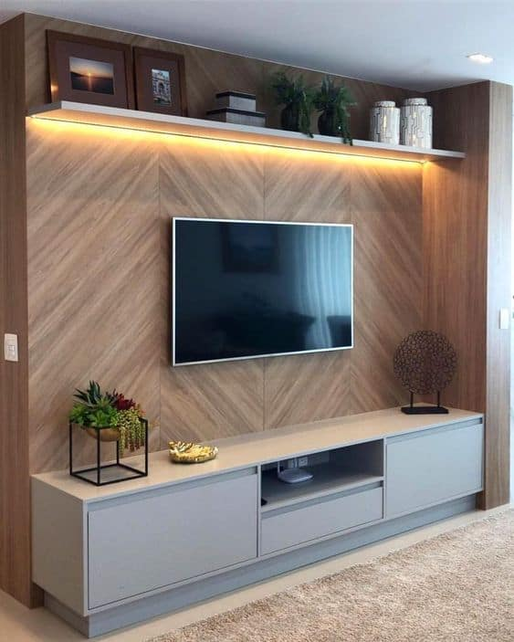 Top 6 Ideas To Decorate Your TV Wall - Basic Wooden Set Up