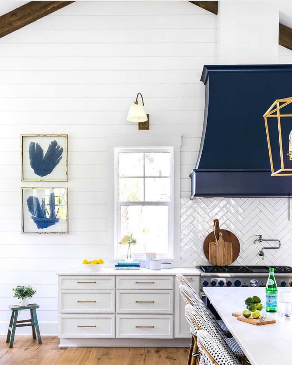 Timeless Kitchen Designs You Will Fall in Love With - White and Blue Combination