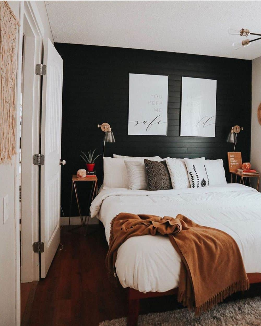 Remodeling Your Master Bedroom With Great Ideas - Dark Walls to Balance White