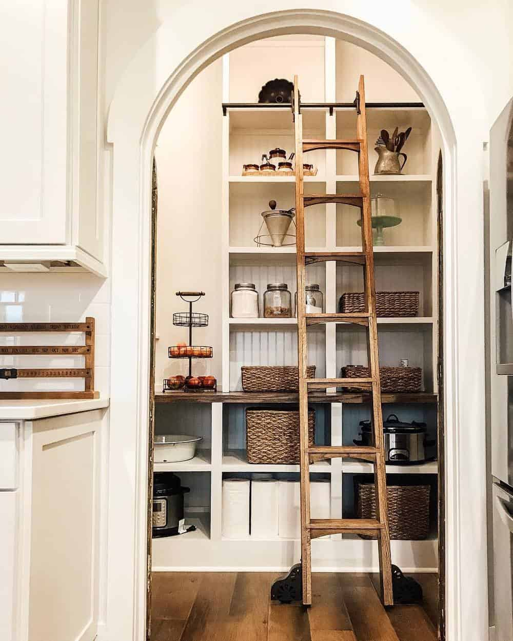 Best Ideas to Decorate Your Modern Country Kitchen - Add a Sliding Library Ladder to Your Kitchen